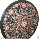 "36"" Black Marble Coffee Dining Table Inlay Work Gemstone Marquetry Garden Decor"