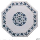 "20"" White Marble Coffee Corner Table Top Lapis Gems Inlay Marquetry Garden Decor"