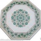 "24"" White Marble Coffee Center Table Top Malachite Gemstone Inlay Garden Decor"