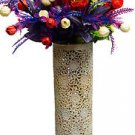"16"" Marble Soapstone Flower Vase Filigree Pot Beautiful Carved Home Decor Art"