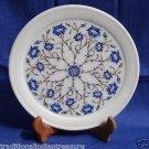"8"" White Marble Plate Semi Precious Lapis Lazuli Marquetry Pietra Dura Handmade"