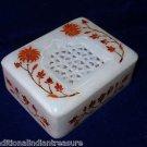 "4""x3""x1.25"" White Marble Jewelry Box Handmade Carnelian Pietra Dura Inlaid Decor"