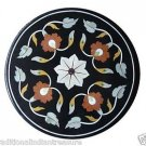 "Size 24""x24"" Black Marble Coffee Table Top Mosaic Marquetry Home Decor New"