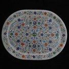 Marble Serving Exclusive Tray Handmade Oval Shape Inlay Home decor Gifts Art