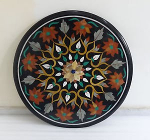 """24"""" Round Black Marble Top Sofa Table Top Marquetry Handmade Home Decor Gifts"""