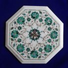 """12""""  White Marble Coffee Table Top Stone Inlaid Marquetry Marble Inlay Malachite"""