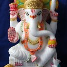 Marble Color Ganesha Statue Lord Ganesh Deities Sculpture Art Hand Painted Art