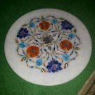 """10"""" Marble Plate Handmade Turquoise Floral Mosaic Marquetry Pietra Dura Decor"""