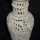 Marble Carved Vase Flower Pot Filigree Design Handmade Home Decor Collectible