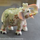 """6"""" White Marble Turning Elephant Golden Hand Painted Handmade Home Decor Gifts"""