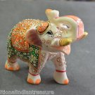 """5"""" White Marble Turning Elephant Golden Hand Painted Handmade Home Decor Gifts"""