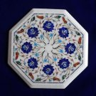 "12""  Marble Inlay Lapis Lazuli coffee Side Table Lazysusan Marquetry Pietra Dura"