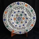 """11"""" Marble Plate Handmade Pietra Dura Inlay Mosaic Marquetry Home Decor Gifts"""