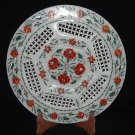 """11"""" Marble Plate Handmade Inlaid Floral Design Pietra Dura Decorative Arts Gifts"""