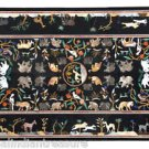 "60""X 36"" Black Marble Coffee center Table Top Animal Art Handicraft Marquetry"
