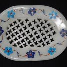 Marble Soap Dish Oval Holder Bathroom Pietra Dura Decor Lapis Turquoise Art