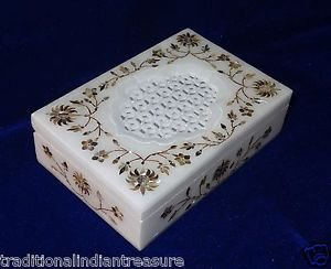 "6""x4""x1.5"" Marble Jewelry Box Paua Shell Ring Box Pietra Dura Home Decor Gifts"