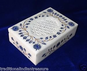 "6""x4""x1.5"" Marble Jewelry Box Lapis Lazuli Handmade Pietra Dura Semi Precious"