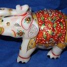 "4"" Marble Turning Statue Painted Elephant Handmade Safari Home Decor Gifts Art"