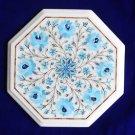 "12"" White Marble Semi Precious Turquoise Coffee Table Top Inlay Mosaic Decor Art"
