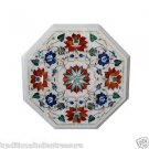 """12"""" Marble Coffee Table Top Pietra Dura Marquetry Hakik Inlaid  Stone Decorative"""