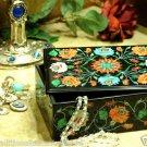 "7""x5""x2"" Black Marble Jewelry Belgium Box Hakik Handicraft Inlay Collectible Art"
