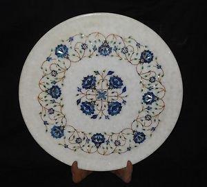 "16"" Marble Floral Plate Lapis Lazuli Handmade Pietra Dura Home Decor Art Mosaic"