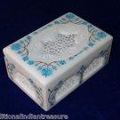 """6""""x4""""x3"""" White Marble Jewelry Box Handmade Turquoise Pietra Dura Inlaid Decor"""