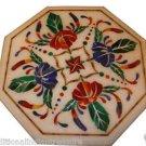 "Size 18""x18"" Marble Coffee Table Top Mosaic Gem Inlay Pietradure Home Decor H947"