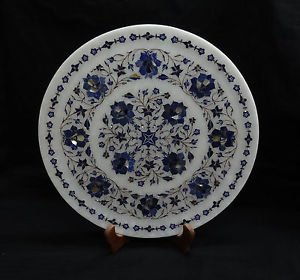 "14"" Rare Lapis Lazuli Marble Plate Pietra Dura Floral Handmade Home Decor Gifts"