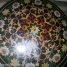 """36"""" Black Marble Dining Coffee Table Top Marquetry Mosaic Pietra Dura Mosaic"""