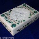 "6""x4""x1.5"" Rectangular Marble jewelry Box Malachite Star Carved Inlay Handmade"