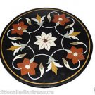 "24"" Black Round Marble Table Top Handmade Mosaic Pietra Dura Arts Home Decor"