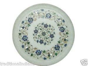 "12"" White Marble Plate Pietra Dura Lapis Lazuli Paua Shell Handmade Decor Gifts"