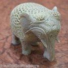 "5"" Marble Elephant Undercut Inside Baby Elephant Filigree Rare Home Decor Gifts"