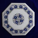 "19"" Marble inlay Lapis Lazuli Rare coffee Side Table Pietra Dura Home Decor Art"