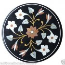 """Size 24""""x24"""" Black Marble Furniture Side Table Top Marquetry Home Decor New"""