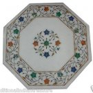 """12"""" Marble Coffee Table Top Handicraft Pietra Dura Semi Precious With Stand New"""