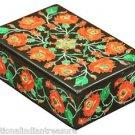 "6""x4""x2"" Black Marble Jewelry Trinket Box Malachite Mosaic Home Decor Gift Inlay"