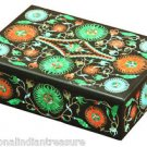 "6""x4""x2"" Black Marble Jewelry Belgium Box Malachite Semi Precious Home Deco Gift"