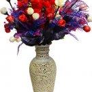 "12"" Marble Soapstone Flower Vase Pot Beautiful Collectible Home Decor Design Art"