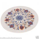 "9"" Decorative Marble Plate Pietra Dura Carnelian Lapis Lazuli Home Decor Gifts"