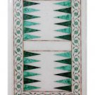 """Size 18""""x12"""" Marble Coffee Table Top Inlay Malachite Backgammon Board Marquetry"""