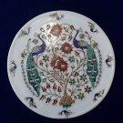 "11"" Marble Rare Plate Decorative Peacock Dancing Pietra Dura Inlay Mosaic Decor"