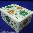 "3""x3""x2"" White Marble Jewelry Box Semi Precious Trinket Handmade Pietra Dura Art"