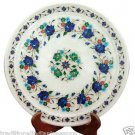 "11"" Marble Serving Round Plate Real Lapis Mosaic Inlay Floral Art Decor Gifts"