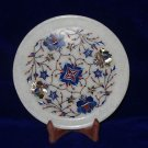 """8"""" Marble Lapis Lazuli Plate Inlaid Floral Pietra Dura Home Decor Beautiful Gift"""