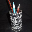 Black Round Marble Pen Holder Elephant Hand Carved Home Decor Handmade Art