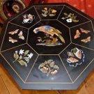 "36"" Black Marble Dining Table Top Handmade Pietra Dura Birds Corner Table Top"