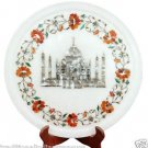 """13"""" Marble Serving Plate Real Hakik Inlay Tajmahal Marquetry Table Decor Gifts"""